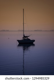 Silhouette of sailboat on Tampa Bay, Florida