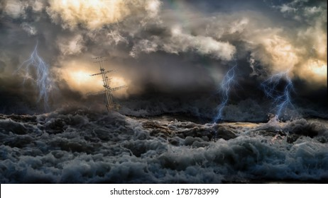 Silhouette of sailing old ship in stormy sea with lightning bolts and amazing waves and dramatic sky. Collage in the style of marine painters.