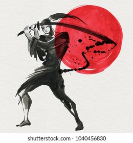 Silhouette Samurai, women in traditional clothing. Chinese style, Watercolor hand painting illustration