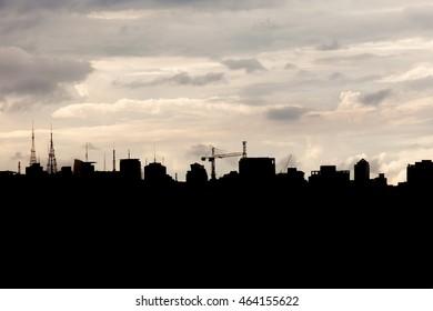 Silhouette of Sao Paulo buildings. City kyline