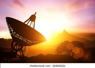 Silhouette of satellite dish