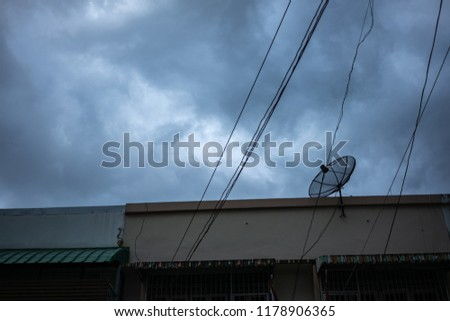 Fine Silhouette Satellite Dish On Roof Top Stock Photo Edit Now Wiring 101 Ariotwise Assnl
