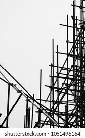 silhouette of scaffolding elements - monochrome