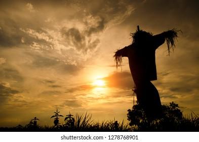 silhouette scarecrow sunset