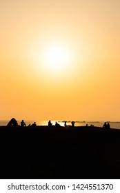 Silhouette of seaside people in Hayama-cho, Japan Kanagawa Prefecture