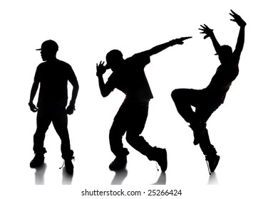 Silhouette of sequence of hip hop dancer over a white background
