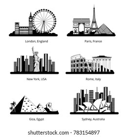 silhouette set with panoramas of famous landmarks. Black silhouette of cityscape famous city building illustration