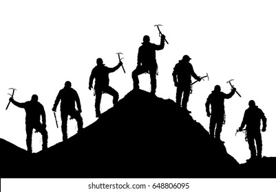 silhouette of seven climbers with ice axe in hand on top of Mount Everest silhouette, black and white mountain vector illustration logo