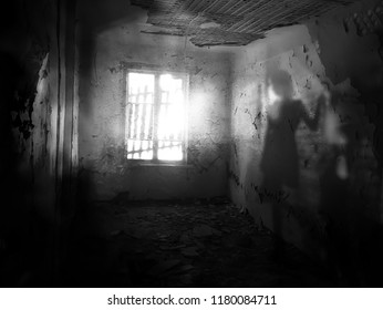 Silhouette of a shadow of a girl in an abandoned house (double exposure, black and white photo)