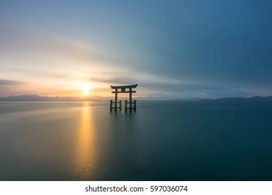 silhouette Shirahige shrine at Biwa lake,Shiga,tourism of japan