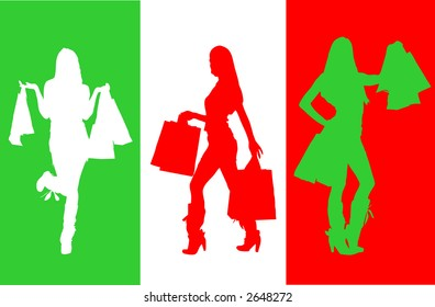 Silhouette of shopping woman.