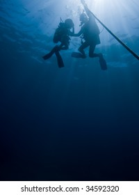 Silhouette shot of divers heading up to the surface.