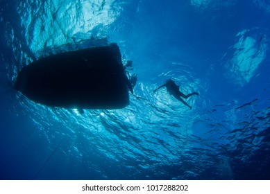 a silhouette shot of scuba divers returning to their boat in the calm tropical waters of Grand Cayman in the Caribbean. clouds can be seen in the sky from underwater