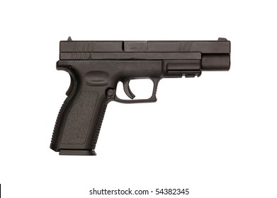 Silhouette side view of a Springfield semiautomatic pistol