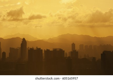Silhouette of Skyline of Hong Kong City