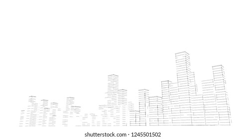 Silhouette of skyscrapers on a white background. Sketch line drawing.