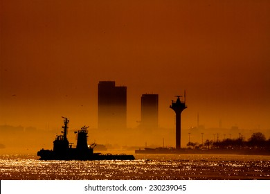 Silhouette of skyscrapers at sunset on the Bosphorus, Istanbul