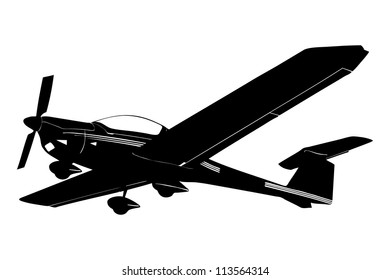 A silhouette of a small plane preparing to land isolated against white background