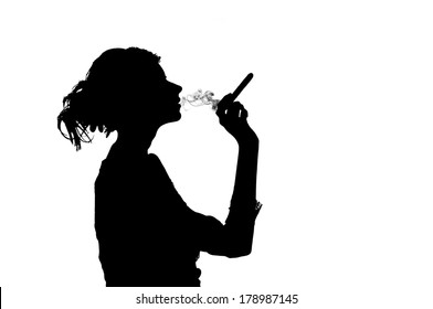 silhouette of smoking woman