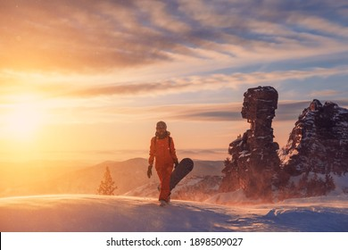 Silhouette of snowboarder female walking with snowboard during sunset