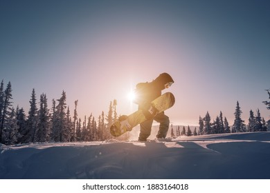 Silhouette of Snowboarder walking on snowy powder near  fir-tree forest covered with snow