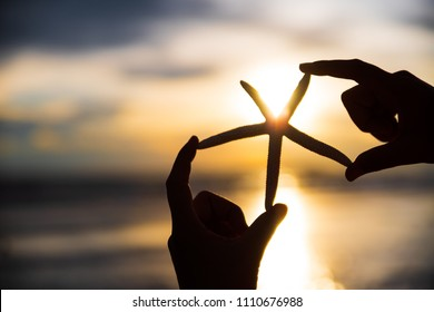 Silhouette and Soft focus on woman hand holding starfish over sea and Sandy beach in background during sunset for summer holiday and vacation concept.