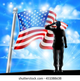 A silhouette soldier saluting with American Flag in the background, design for Memorial Day or Veterans Day