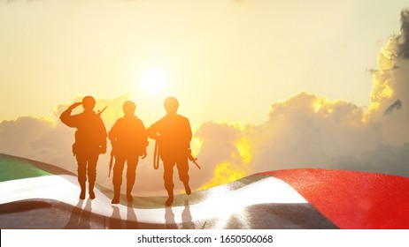 Silhouette of a  Solider . Concept - UAE national holidays, National Day, Commemoration Day. 3D illustration