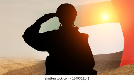Silhouette Of A Solider Saluting Against the Sunrise . Concept - UAE national holidays, National Day, Commemoration Day. 3D illustration