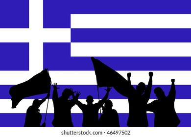 Silhouette from some sport fans in front of the flag from greece