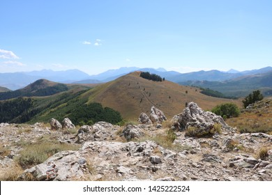 Silhouette of the southern peaks of the Wasatch Range from the summit of Bald Mountain in Deer Valley, Utah