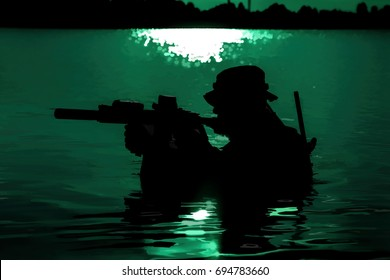 Silhouette of special forces with rifle in action during night raid crossing river in the jungle waist deep in the water. Moon path glowing