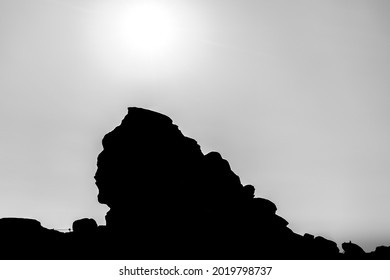 Silhouette of the Sphinx, a natural rock formation in the Bucegi Natural Park, Bucegi Mountains of Carpathians Mountains, Romania at 2216 metres (7,270 ft) altitude