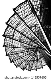 Silhouette of a spiral staircase, black and white image.