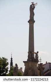 Silhouette of St. Joseph baroque column in Trnava, Slovakia