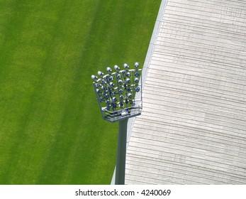 The silhouette of stadium light stand