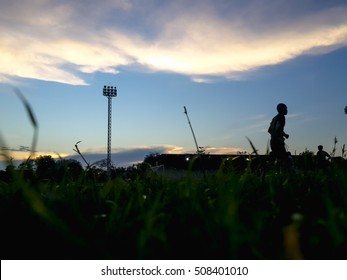 Silhouette of starting blocks in track and field.