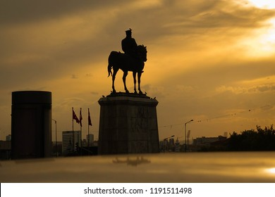 Silhouette of the Statue of Ataturk in Ulus Square. Ulus, Ankara - Turkey