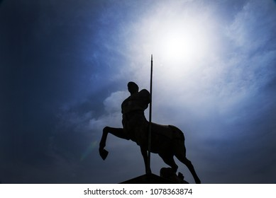 The silhouette of a statue of a Centaur, at the ruins of the ancient Roman city of Pompeii, which was destroyed by mount Vesuvius volcanic eruption in AD 79.
