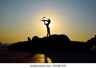 Silhouette of statue during sunset