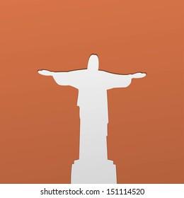 Silhouette of a statue to Jesus Christ in Rio de Janeiro