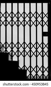 silhouette of steel door interior black and white