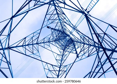 Silhouette steel structure of Transmission line tower, Thailand