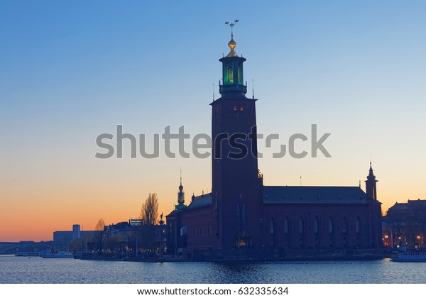 Silhouette of Stockholm town hall at sunset