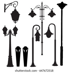silhouette of street lamps