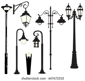 silhouette of street lamps, burn