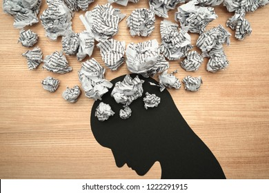 Silhouette of stressed person head. 