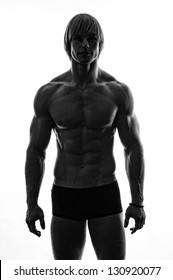 Silhouette of a strong male model