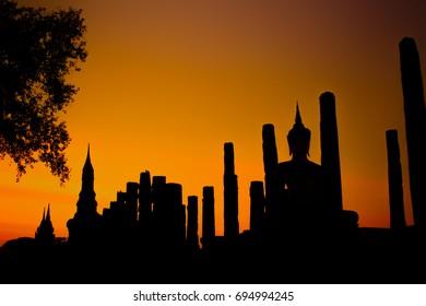 Silhouette of Sukhothai Historical Park, Thailand