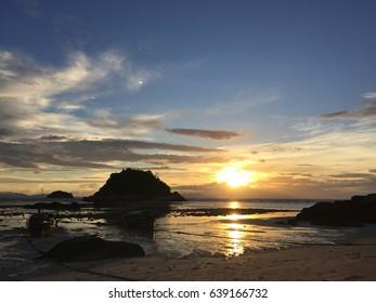 silhouette of sunrise at Lipe island in Thailand